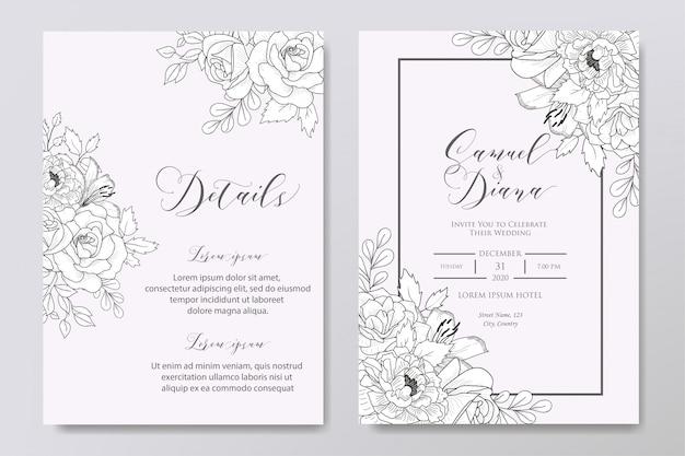 Plantilla de invitación de boda floral dibujado a mano