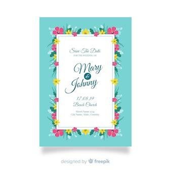 Plantilla de invitación de boda floral en diseño plano