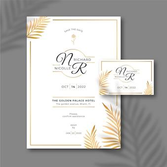 Plantilla de invitación de boda floral dorada degradada