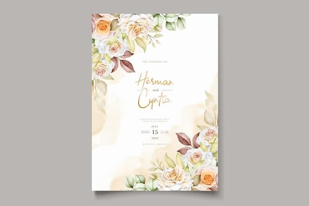 Plantilla de invitación de boda floral con elegantes hojas marrones