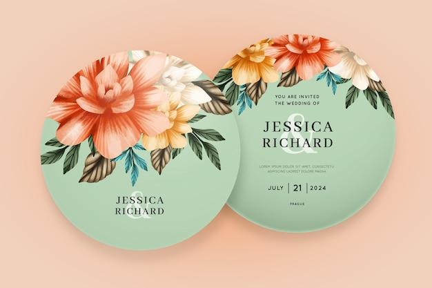 Plantilla de invitación de boda floral hermosa