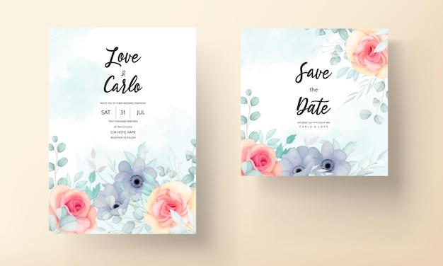 Plantilla de invitación de boda floral con hermosas flores y decoración de hojas