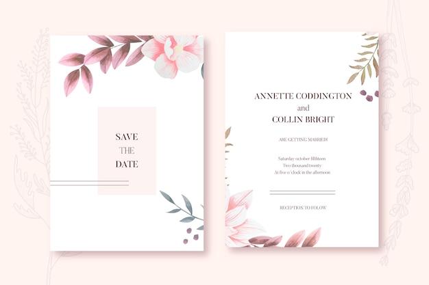 Plantilla de invitación de boda floral minimalista elegante