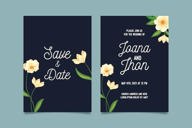 Plantilla de invitación de boda floral minimalista