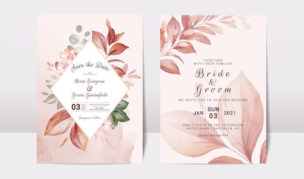 Plantilla de invitación de boda floral con oro burdeos