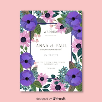 Plantilla de invitación de boda floral pintada a mano