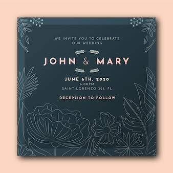 Plantilla de invitación de boda floral plana orgánica