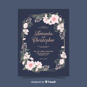 Plantilla de invitación de boda floral plana