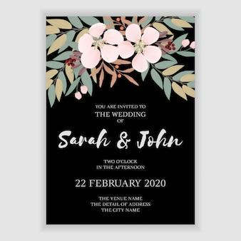 Plantilla de invitación de boda floral simple