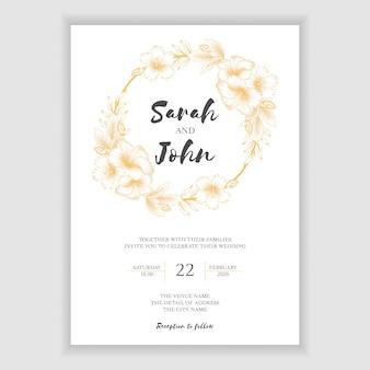 Plantilla de invitación de boda floral tropical dorada