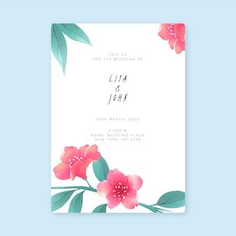 Plantilla para invitación de boda floral