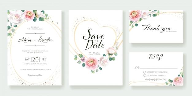 Plantilla de invitación de boda floral.