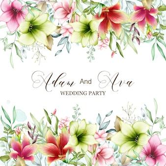 Plantilla de invitación de boda con flores de acuarela amarilis