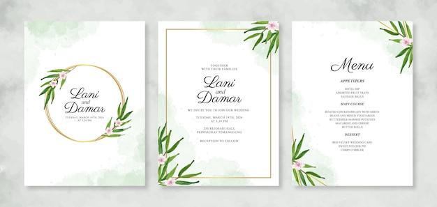 Plantilla de invitación de boda con flores de acuarela pintadas a mano