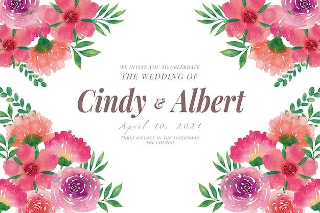 Plantilla de invitación de boda con flores de acuarela