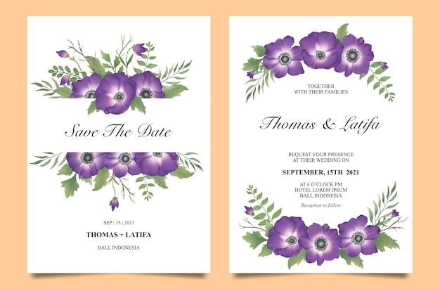 Plantilla de invitación de boda con flores de color púrpura