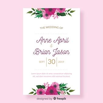 Plantilla de invitación de boda con flores en diseño plano
