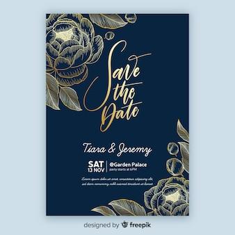 Plantilla de invitación de boda con flores doradas