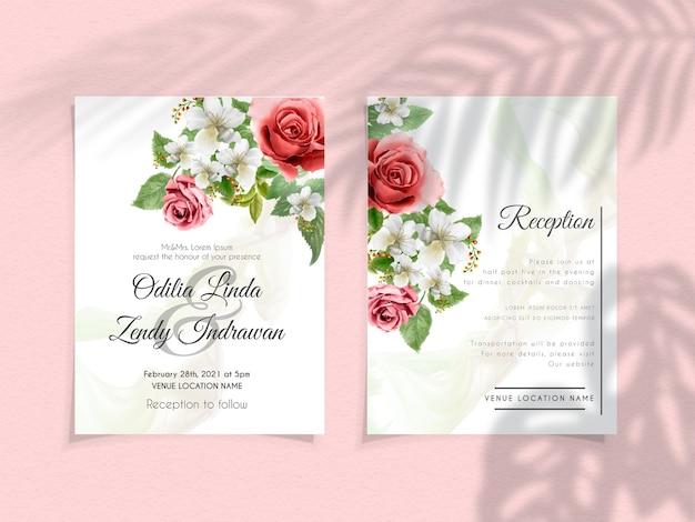 Plantilla de invitación de boda con flores elegantes