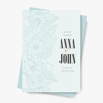 Plantilla de invitación de boda de flores - flores azules
