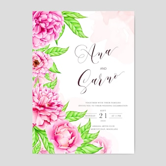 Plantilla de invitación de boda con flores de peonía acuarela