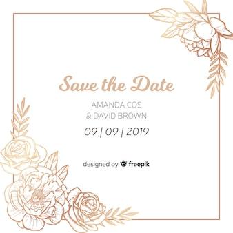 Plantilla de invitación de boda con flores peonía