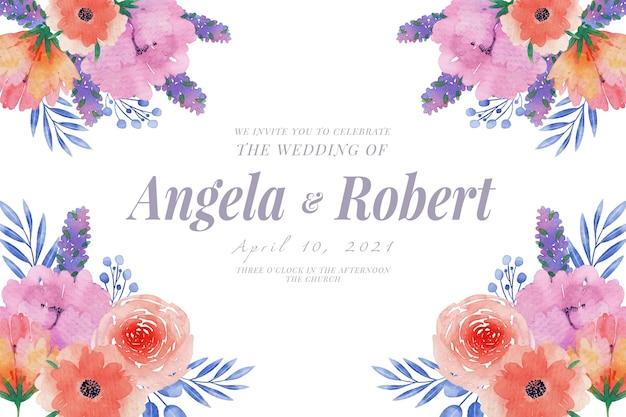 Plantilla de invitación de boda flores de primavera