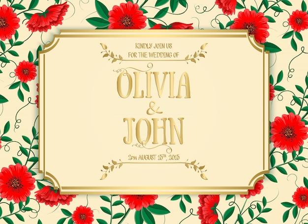 Plantilla de invitación de boda con flores rojas
