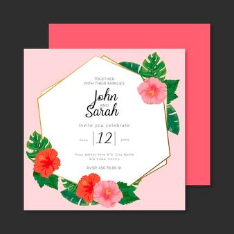 Plantilla de invitación de boda flores tropicales