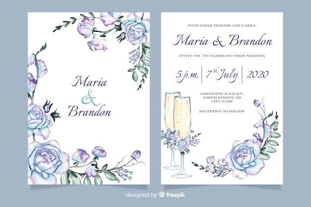 Plantilla de invitación de boda con flores