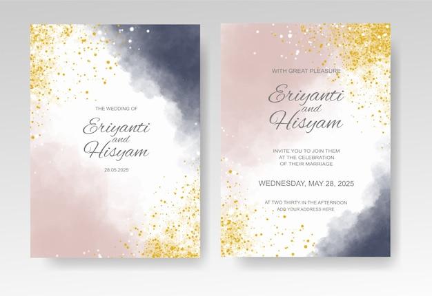 Plantilla de invitación de boda con fondo de acuarela y splash