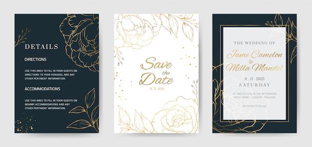 Plantilla de invitación de boda de fondo azul de flor de oro con flores de peonía rosa dorada.