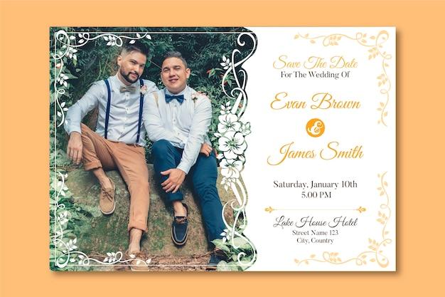 Plantilla de invitación de boda con foto de dos hombres enamorados