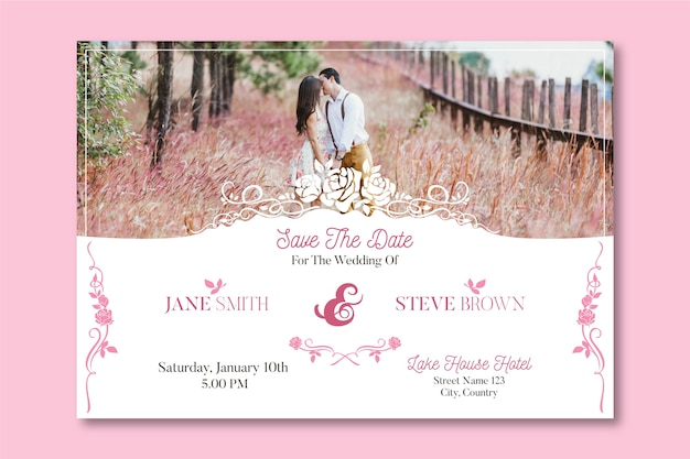 Plantilla de invitación de boda con foto de linda pareja
