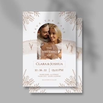 Plantilla de invitación de boda con foto de pareja