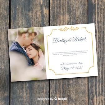 Plantilla de invitación de boda con foto