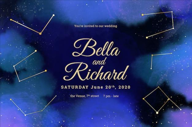 Plantilla de invitación de boda galaxia acuarela