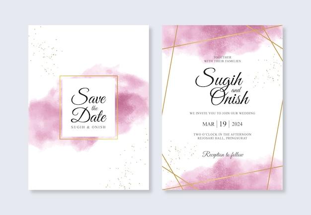 Plantilla de invitación de boda geométrica dorada con salpicaduras de acuarela