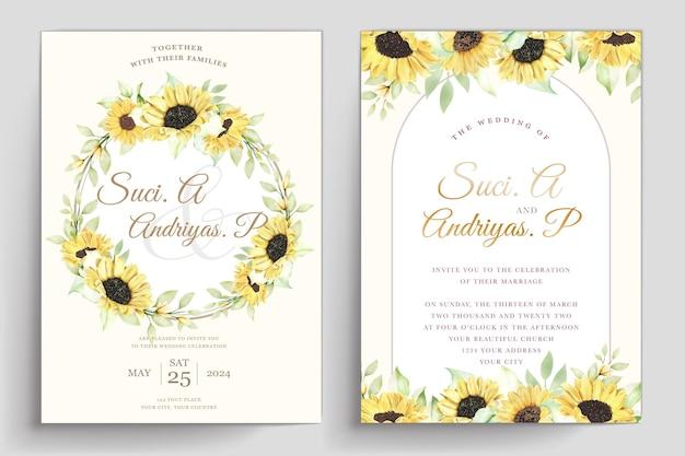 Plantilla de invitación de boda de girasol dibujado a mano