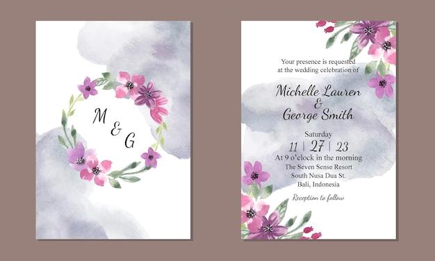 Plantilla de invitación de boda con guirnalda floral púrpura acuarela y grunge