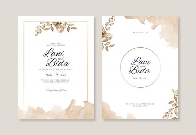 Plantilla de invitación de boda hermosa con acuarela floral y splash