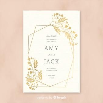 Plantilla de invitación de boda hermosa en diseño plano