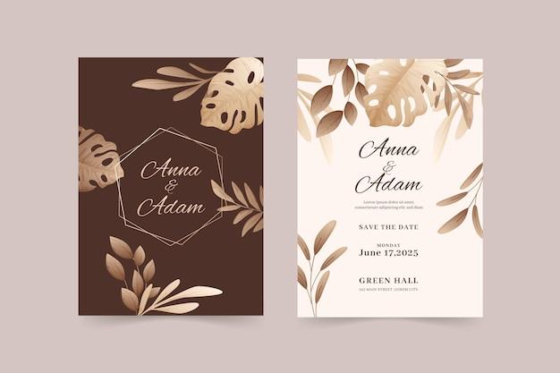 Plantilla de invitación de boda hermosa y elegante