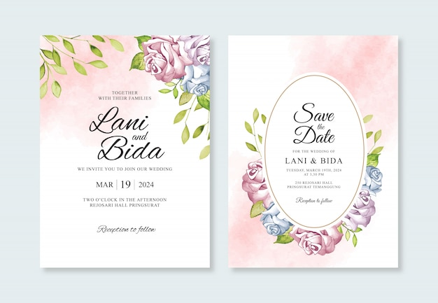 Plantilla de invitación de boda hermosa con flor de acuarela