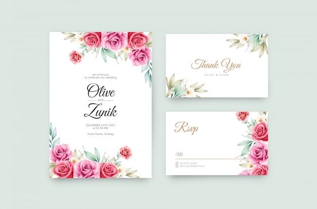 Plantilla de invitación de boda hermosa con flores y hojas de acuarela