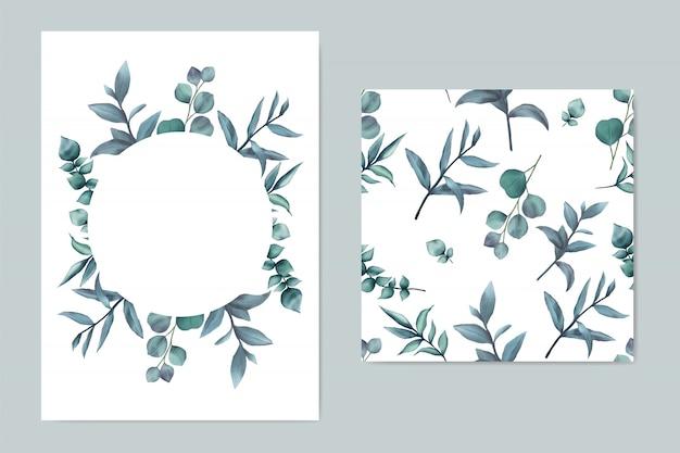Plantilla de invitación de boda hermosa con hojas azules