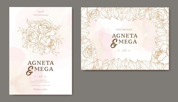 Plantilla de invitación de boda hermosa línea arte