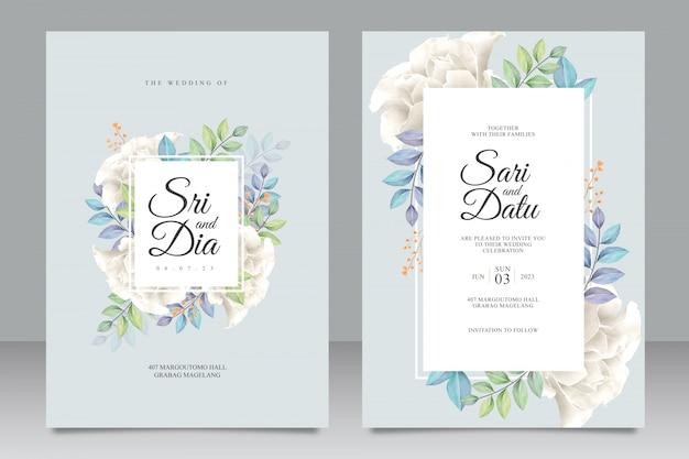 Plantilla de invitación de boda hermosa con ramo de rosas blancas