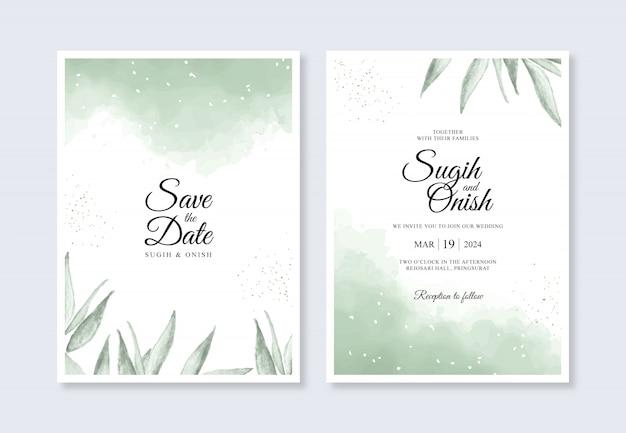 Plantilla de invitación de boda hermosa con salpicaduras de acuarela y hojas
