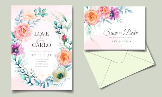 Plantilla de invitación de boda con hermosas flores de acuarela y hojas verdes